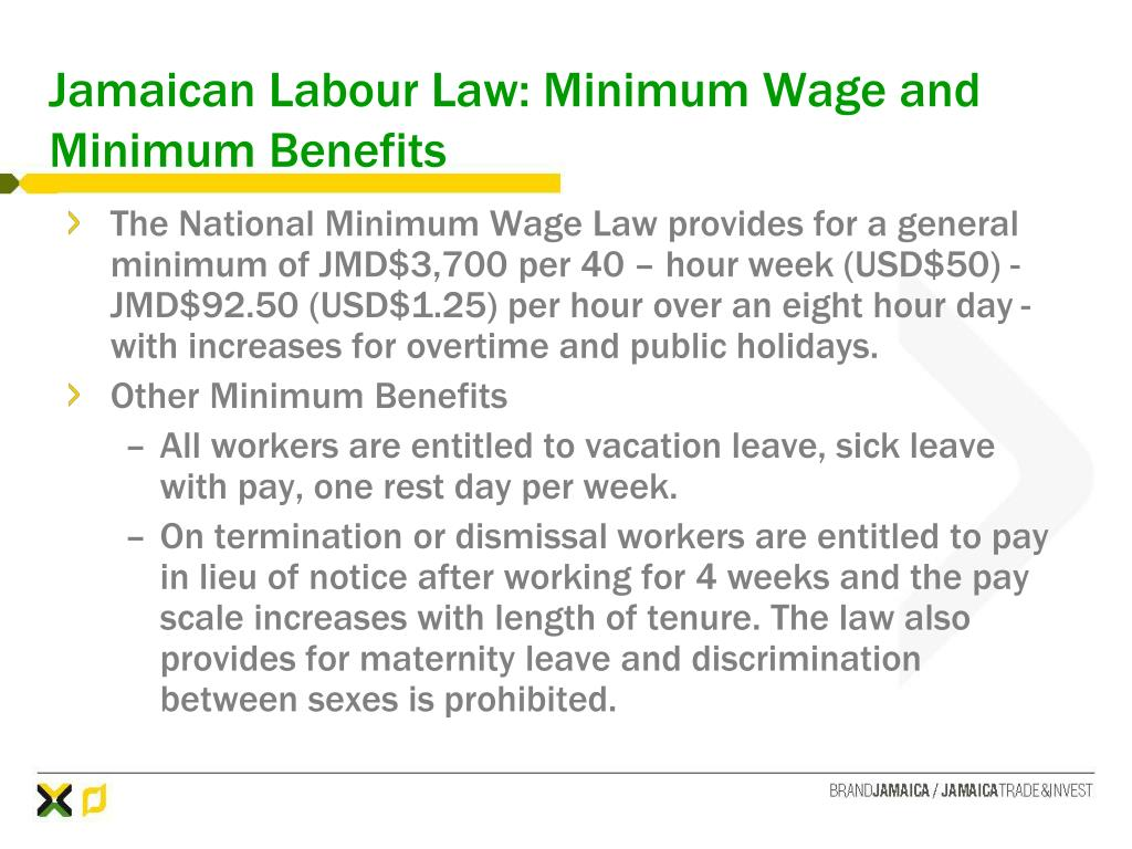 Jamaican Labour Law: Minimum Wage and Minimum Benefits