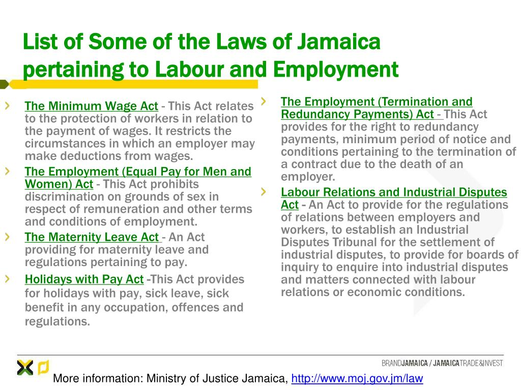 List of Some of the Laws of Jamaica pertaining to Labour and Employment