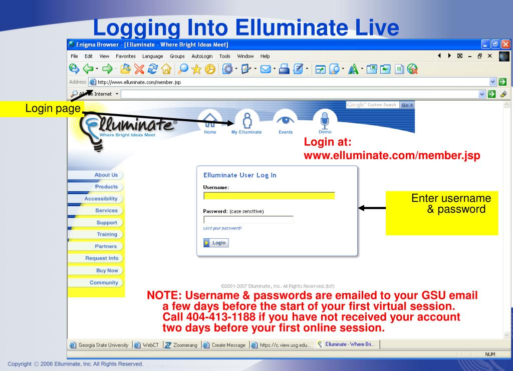 Logging Into Elluminate Live