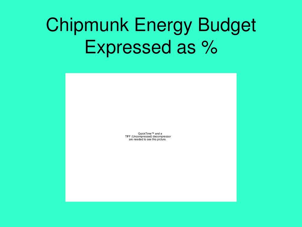 Chipmunk Energy Budget Expressed as %