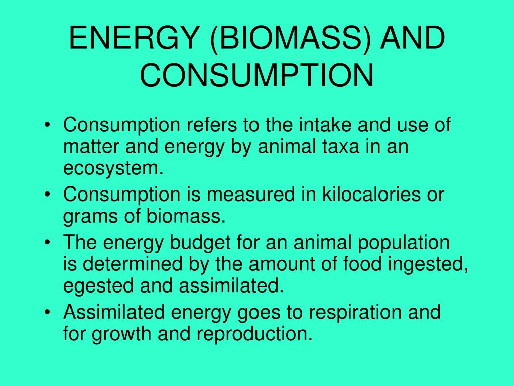 ENERGY (BIOMASS) AND CONSUMPTION