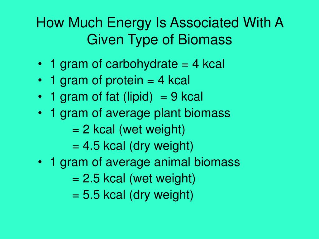 How Much Energy Is Associated With A Given Type of Biomass