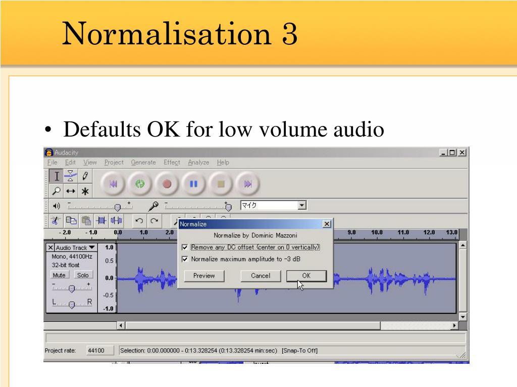 Normalisation 3