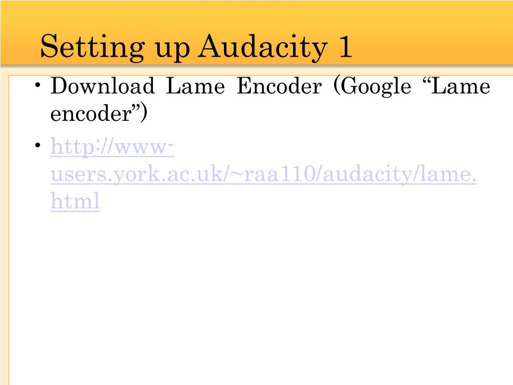 Setting up Audacity 1