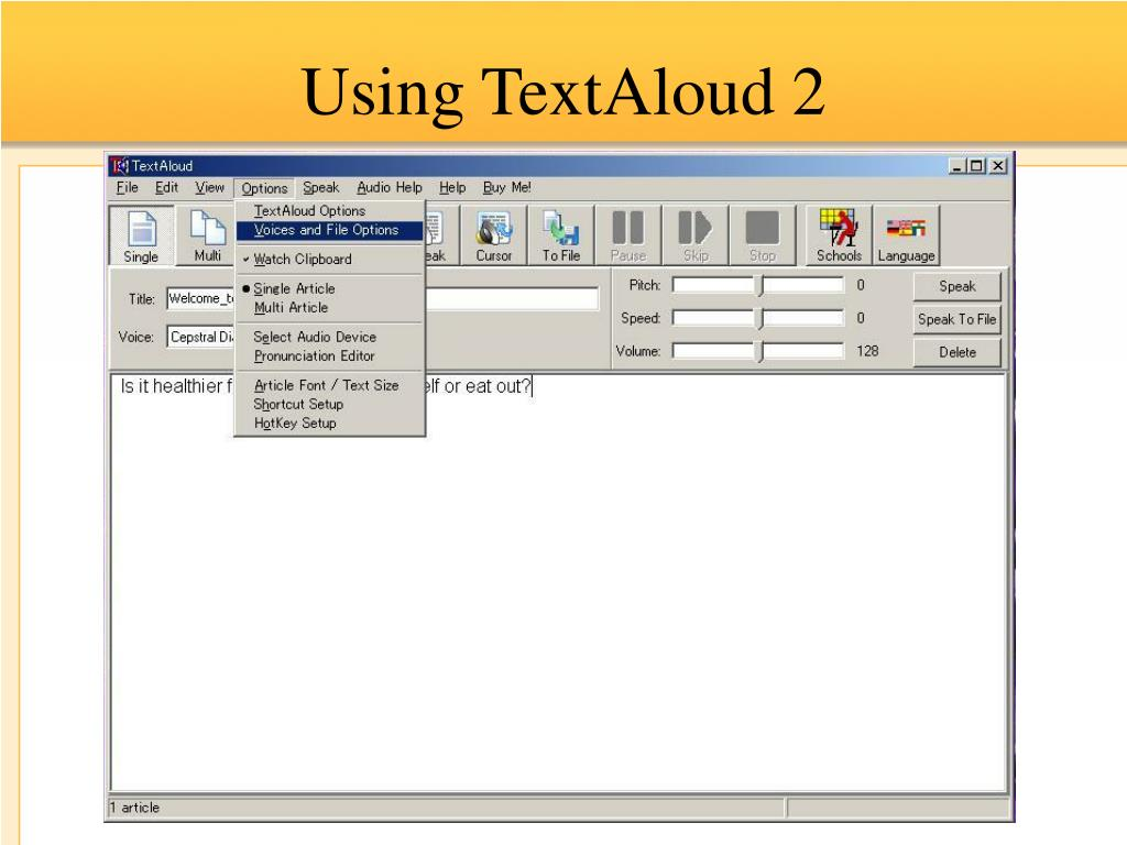 Using TextAloud 2