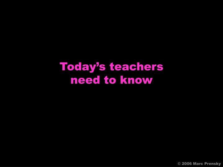 Today's teachers
