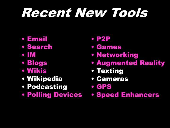 Recent New Tools
