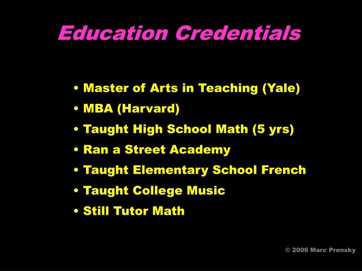 Education Credentials