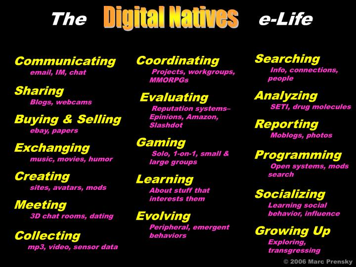 The                             e-Life