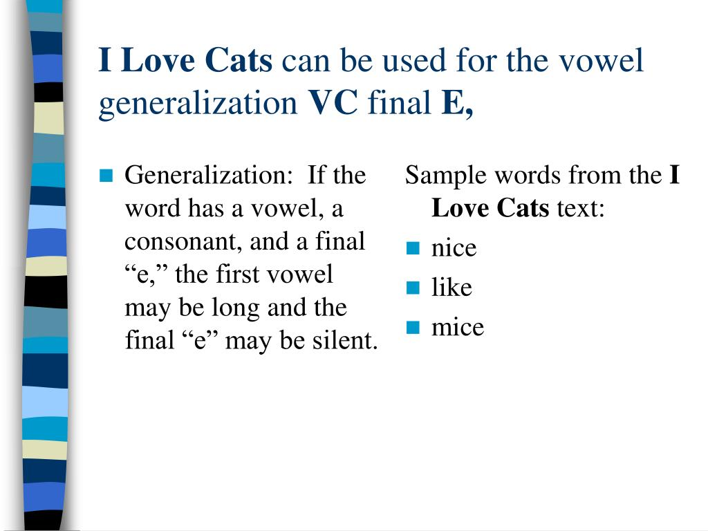 "Generalization:  If the word has a vowel, a consonant, and a final ""e,"" the first vowel may be long and the final ""e"" may be silent."