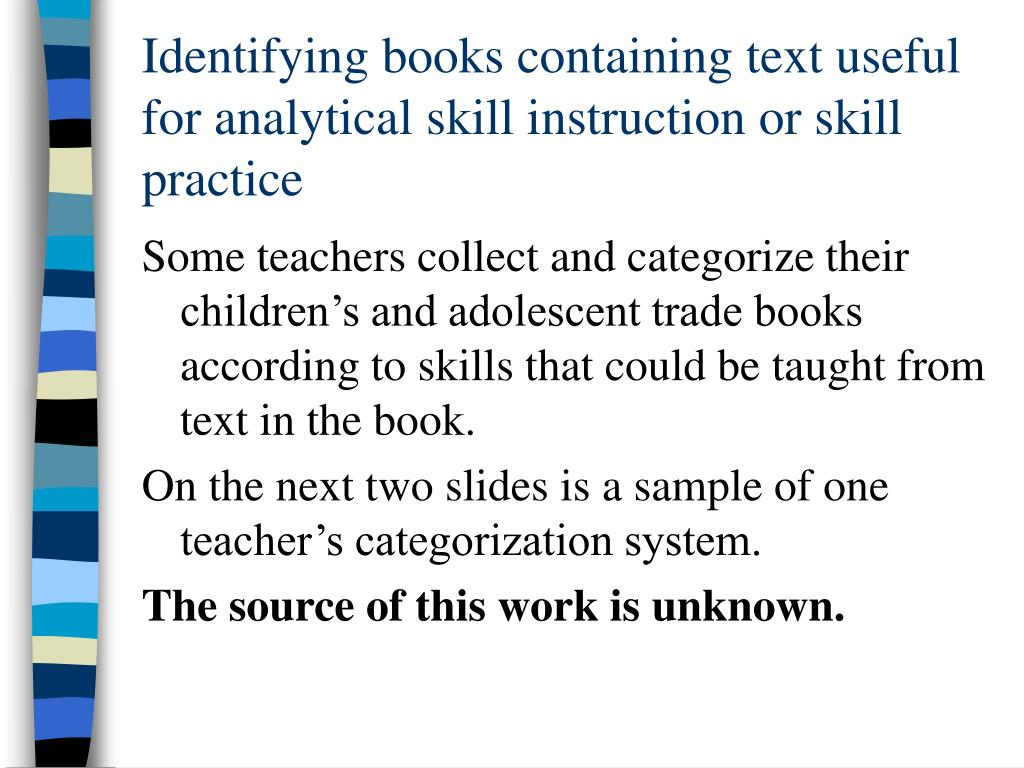 Identifying books containing text useful for analytical skill instruction or skill practice