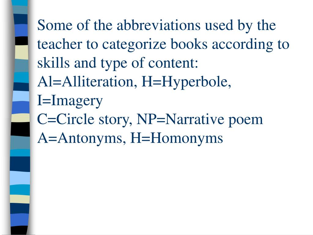 Some of the abbreviations used by the teacher to categorize books according to skills and type of content:  Al=Alliteration, H=Hyperbole, I=Imagery