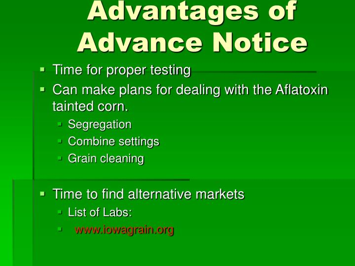 Advantages of Advance Notice