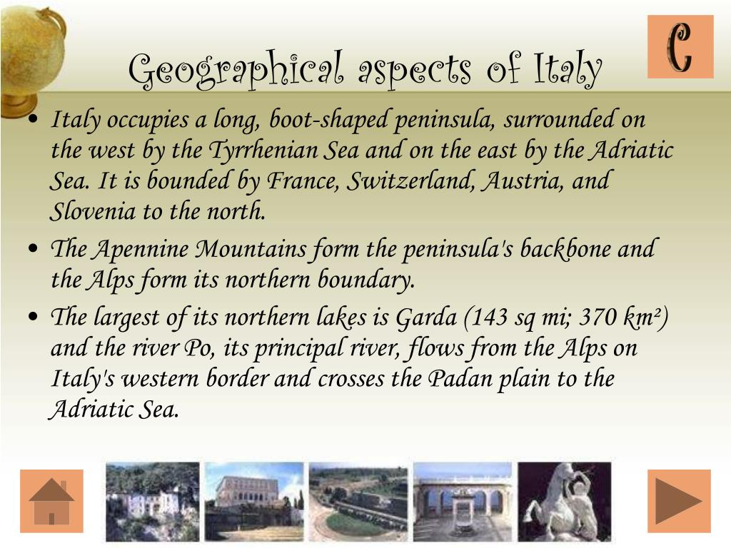 Geographical aspects of Italy