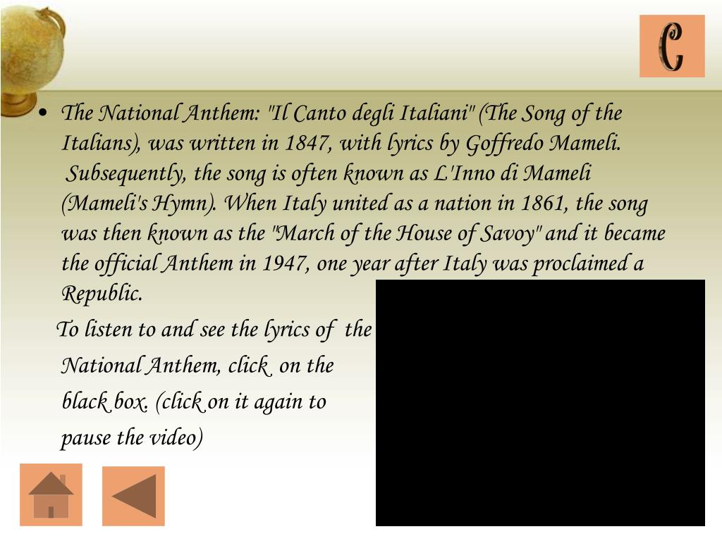 "The National Anthem: ""Il Canto"