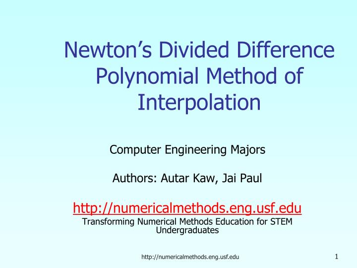 Newton s divided difference polynomial method of interpolation