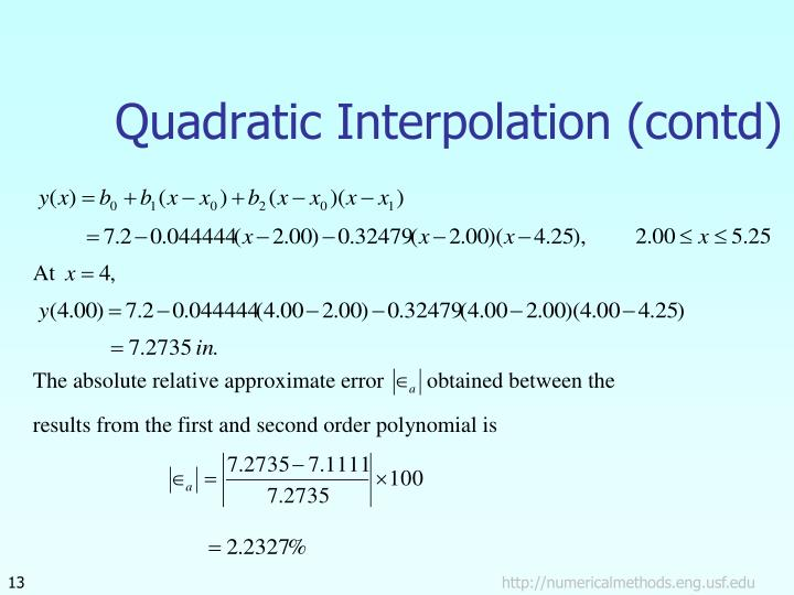 Quadratic Interpolation (contd)
