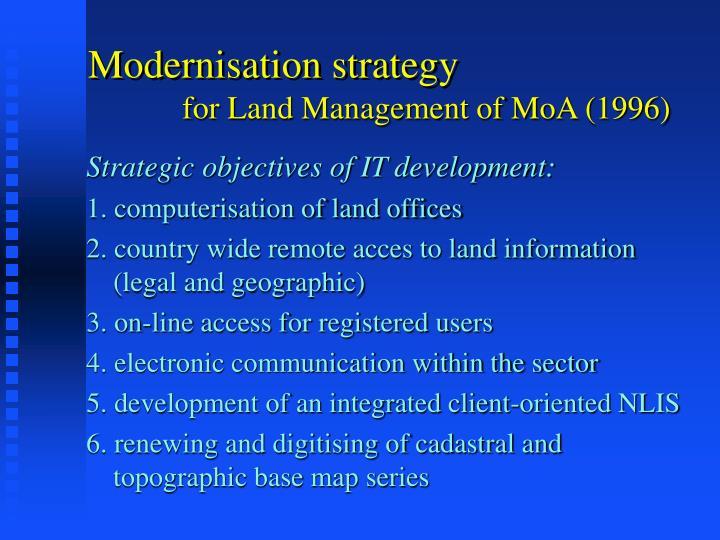 Modernisation strategy