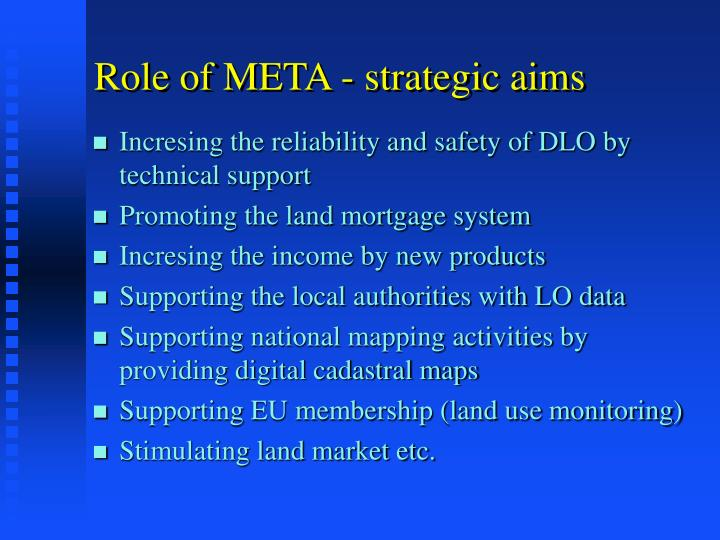 Role of META - strategic aims