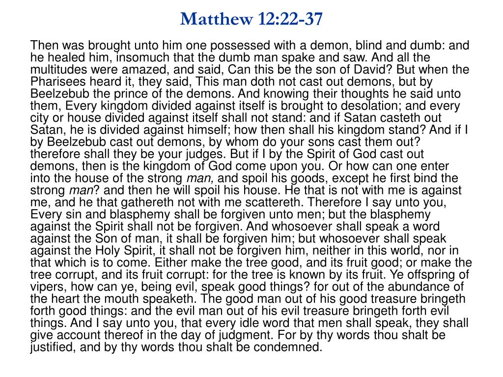 Matthew 12:22-37