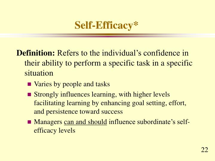Self-Efficacy*