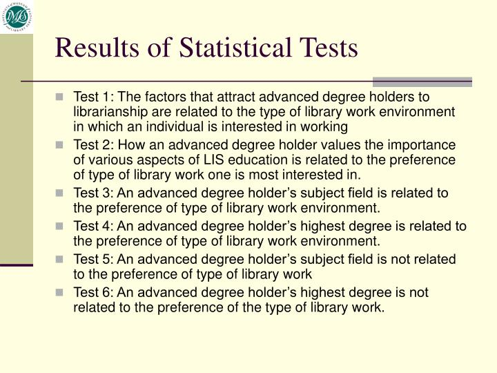 Results of Statistical Tests