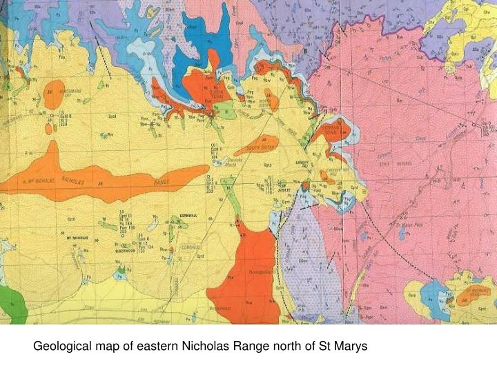 Geological map of eastern Nicholas Range north of St Marys