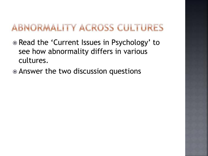 Abnormality across cultures