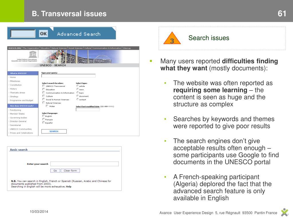 B. Transversal issues