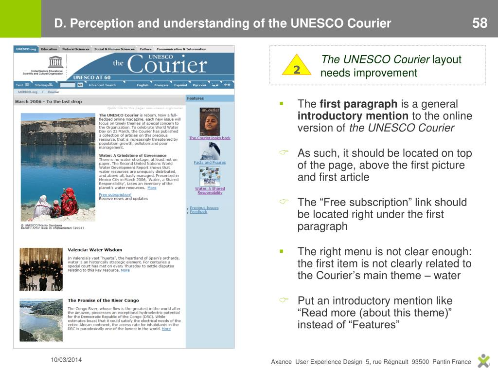 D. Perception and understanding of the UNESCO Courier