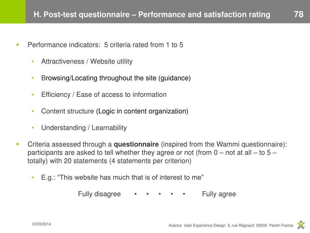 H. Post-test questionnaire – Performance and satisfaction rating