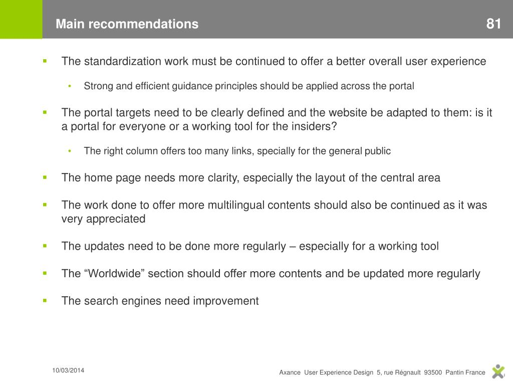 Main recommendations