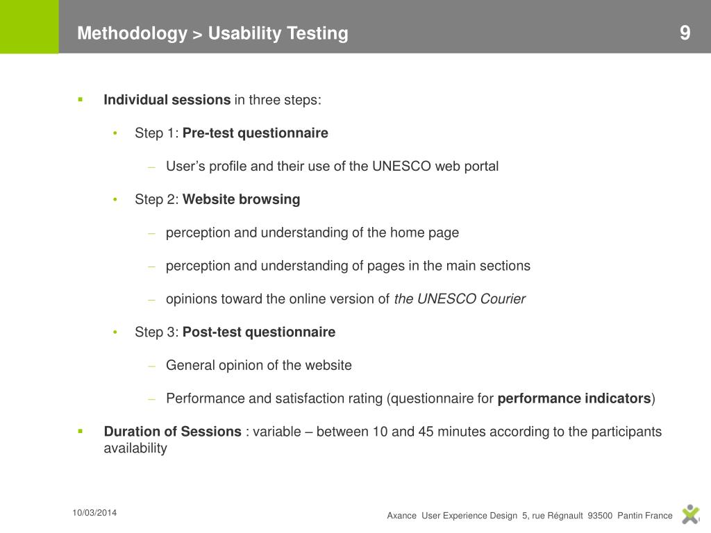 Methodology > Usability Testing