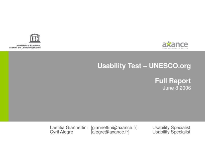 Usability test unesco org full report june 8 2006