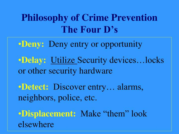 crime prevention philosophies For the university of maryland crime prevention report my evidence-based corrections and reentry programs evidence-based corrections and reentry.