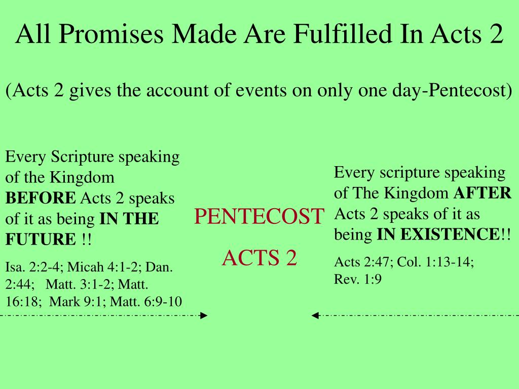 All Promises Made Are Fulfilled In Acts 2