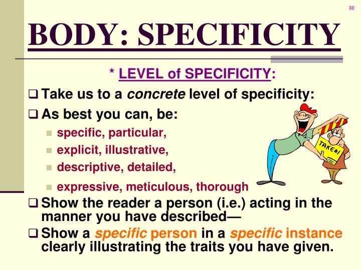 BODY: SPECIFICITY