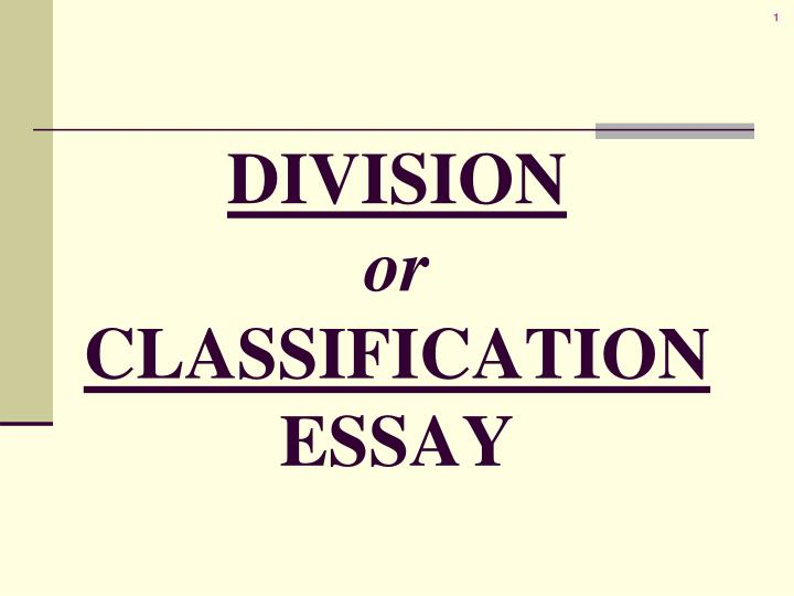 Division or classification essay