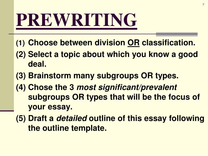 classification essay draft Classification/division:genres of music(group essay) dwyer no draft three yet this is a really good essay.