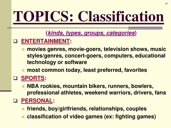 TOPICS: Classification