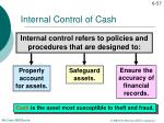 internal control of cash
