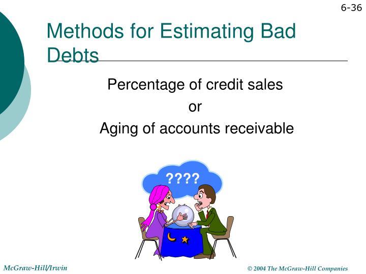 Methods for Estimating Bad Debts