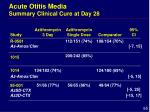 acute otitis media summary clinical cure at day 28