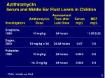 azithromycin serum and middle ear fluid levels in children