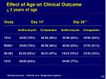 effect of age on clinical outcome 2 years of age