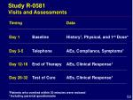 study r 0581 visits and assessments