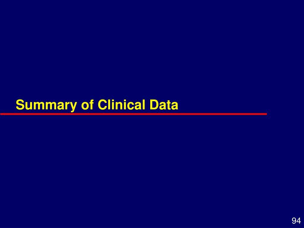 Summary of Clinical Data