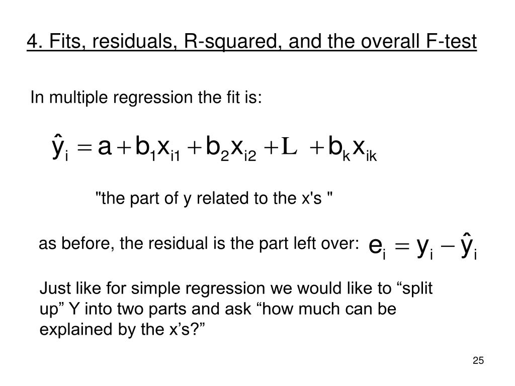 4. Fits, residuals, R-squared, and the overall F-test