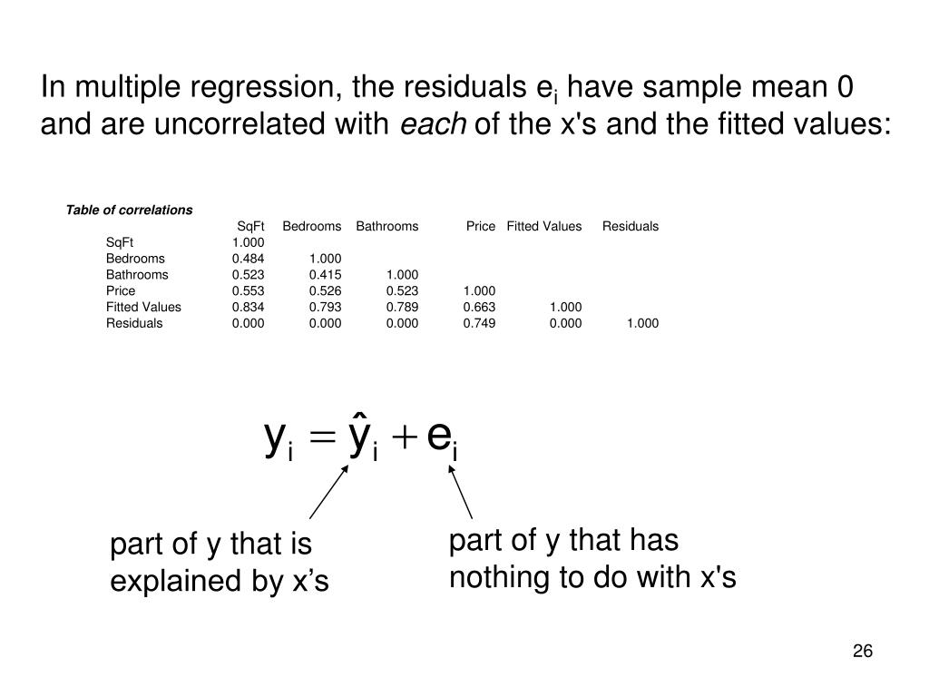 In multiple regression, the residuals e