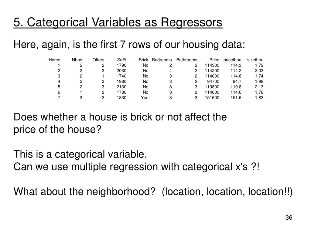 5. Categorical Variables as Regressors